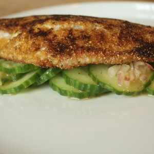 Catfish Cornmeal Crusted with Cucumbers